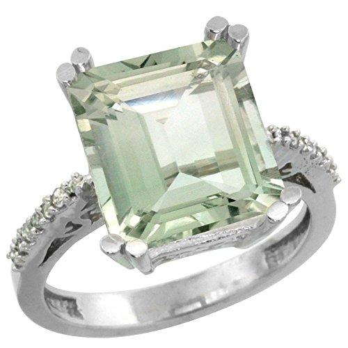 Gold Amethyst Ring Green (14K White Gold Natural Diamond Green Amethyst Ring Emerald-cut 12x10mm, size 6)