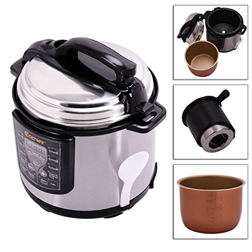 6-Quart Electric Non-stick Pressure Cooker Cookware Stainless Steel With Automatically Controlled Temperature Pressure TSE069A