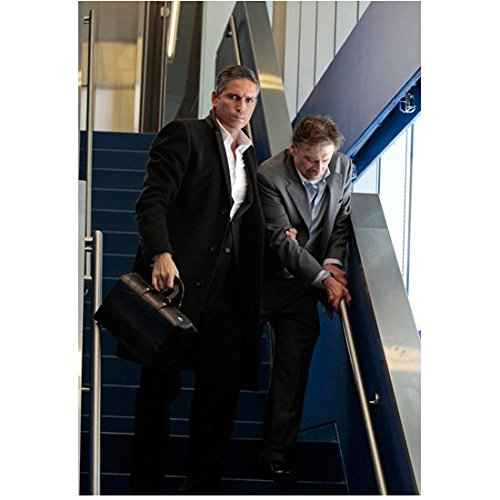Person of Interest (TV Series 2011 - ) 8 inch by 10 inch PHOTOGRAPH Jim Caviezel Black Suit Assisting Man in Grey Suit Down Stairs kn