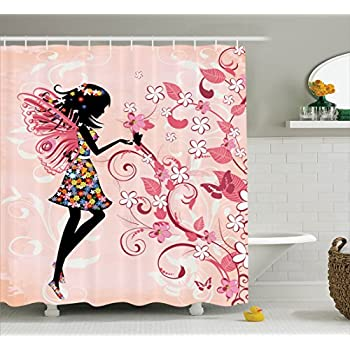 This Item Girls Shower Curtain Fairy Decor By Ambesonne, Pink Butterflies  And Flowers Beautiful Glamour Girl With Colorful Floral Dress Angel Wings  Fae ...