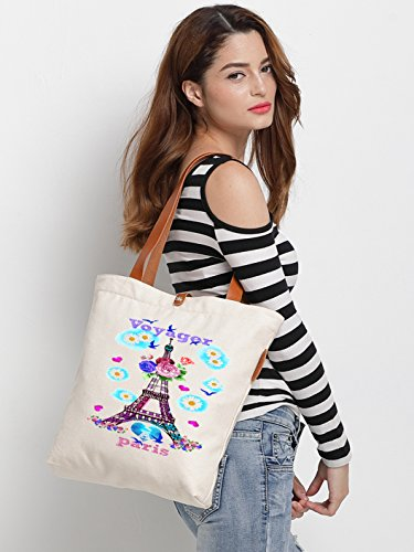 IN.RHAN Women's Iron Tower Graphic Canvas Tote Bag Casual Shoulder Bag Handbag