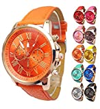 Women watch wholesale Faux Leather band strap Analog Quartz Wrist Watch set cheap on sale clearance 10PC (10PC Set)
