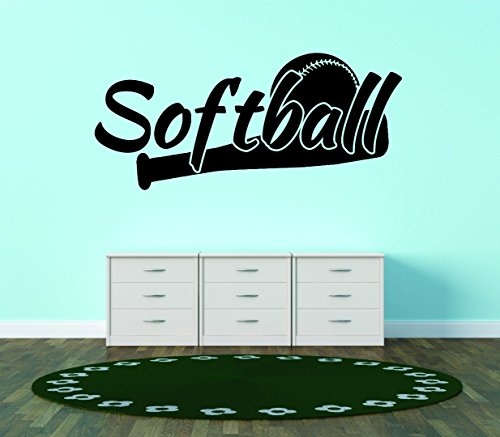 Wall Decal Sale : Softball Sport Quote Teen Boy Girl Bedroom Size: 10 X 20 Inches Color Black