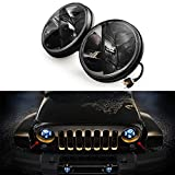 Dtemple 7inch Round LED Headlights for Hummer Jeep Wrangler CJ TJ JK with H4-H13 Adapter -Set of Two