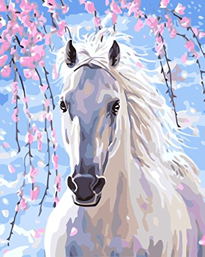 LB DIY Oil Painting for Adults Kids Paint By Number Kit Digital Oil Painting White Fine Horse 16X20 ()