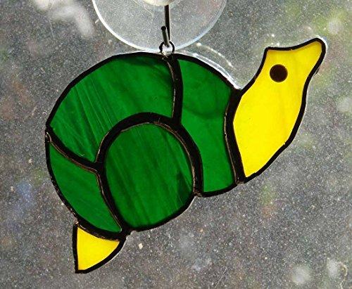 snail-sun-catcher-handmade-yellow-iridescent-green-stained-glass-ornament