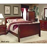 Coaster Home Furnishings  Louis Philippe Traditional Eastern King Sleigh Panel Bed - Cherry