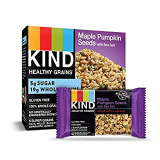 KIND Healthy Grains Bars, Maple Pumpkin Seeds with Sea Salt, Gluten Free, 1.2 oz, 5 Count (8 Pack)