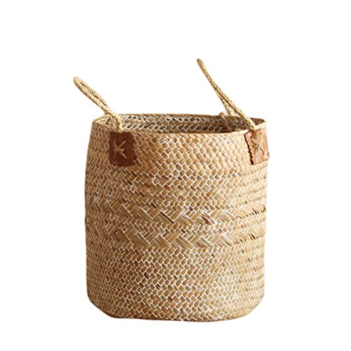 ss Tote Belly Basket, Nordic Fruit Gardening Storage Basket Decorative Basket Flower Pot Planter with Handles for Home Organizer, Plant Pot Cover, Laundry and Beach Bag(L) (Grass Woven Tote)