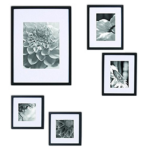 GALLERY PERFECT 5 Piece Black Wood Photo Frame Wall Gallery Kit #11FW1438. Includes: Frames, Hanging Wall Template, Decorative Art Prints and Hanging Hardware