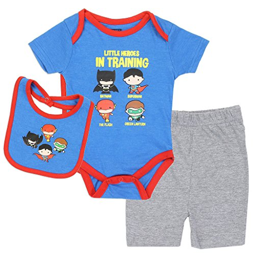 Justice League Baby Boys' Little Heroes in Training Creeper Set (3/6M)
