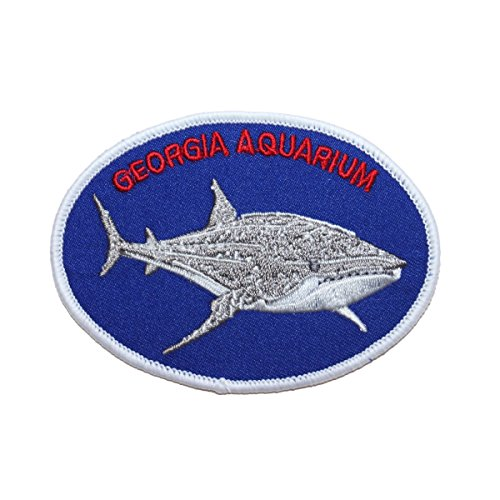 "Travel Souvenir ""Georgia Aquarium"" Shark Patch Atlanta Marine Iron-On Applique"