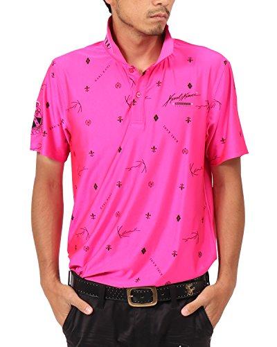 [カールカナイ ゴルフ] Karl Kani GOLF ポロシャツ モノグラム 総柄 カラー ドライ ポロシャツ 182KG1212 ピンク Lサイズ