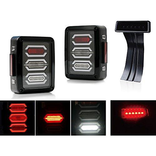 Xprite G3 Diamond Clear LED Tail Light & Smoke Lens Red 3rd LED Brake Light For Jeep Wrangler JK JKU 2007-2018