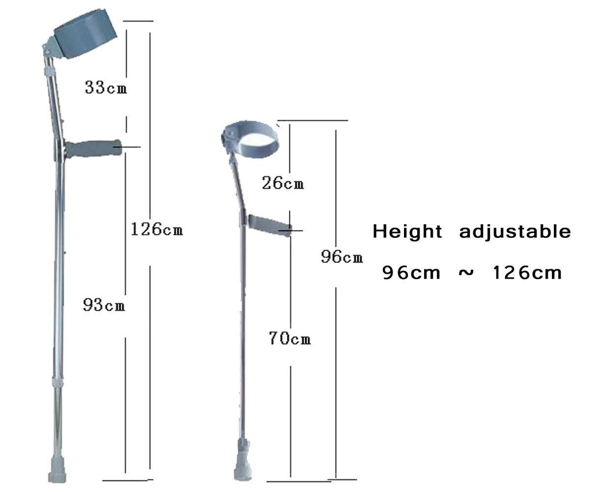 WAOBE Brazo Muletas Aluminio Codo Rodilla Altura ajustable ...