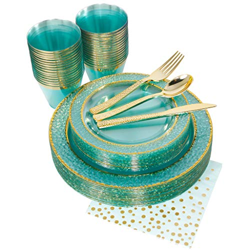 NERVURE 175PCS Mint with Gold Rim Disposable Plastic Plates Set: 25 Dinner Plates,25 Dessert Plates, 25 Forks,25 Knives, 25 Spoons, 25 Cups,25 Napkins. (Plate Table)