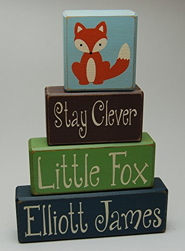 Stay Clever Little Fox Personalized Name - Fox - Woodland Nursery - Primitive Country Wood Stacking Sign Blocks-Birthday-Nursery Room-Baby Shower Home Decor
