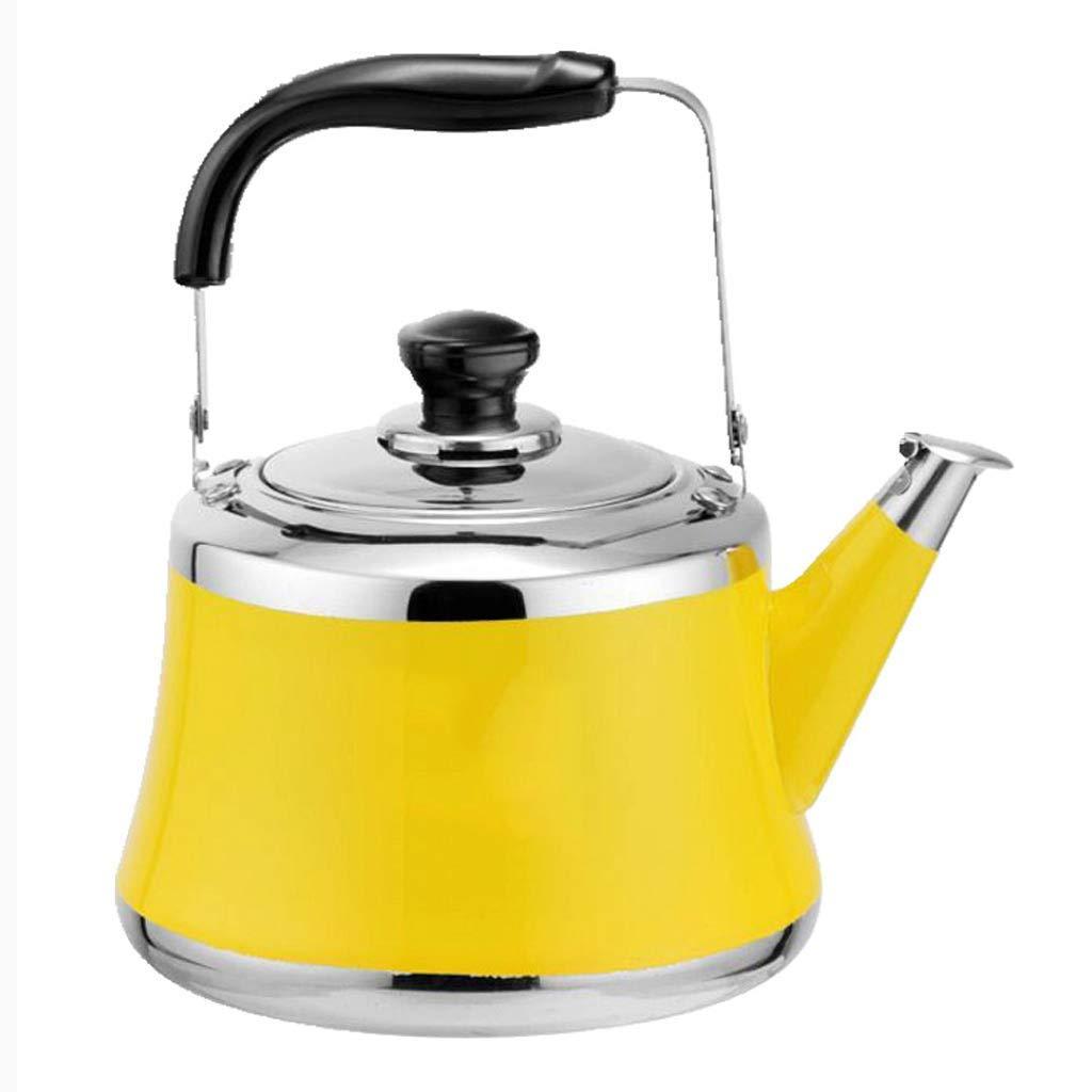 Orange 4L SCJS Bouilloire à gaz en Acier Inoxydable 304 sifflet Grande capacité épaissir ménage cuisinière à Induction cuisinière Restaurant Restaurant Bouilloire (Couleur  Jaune, Taille  6L)
