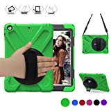BRAECN iPad Air Case Heavy Duty Apple iPad Air 1 Full-Body Rugged Protective Case with a 360 Degree Swivel Kickstand/a Hand Strap/a Adjustable Shoulder Strap for ipad air Protective case Green/Black