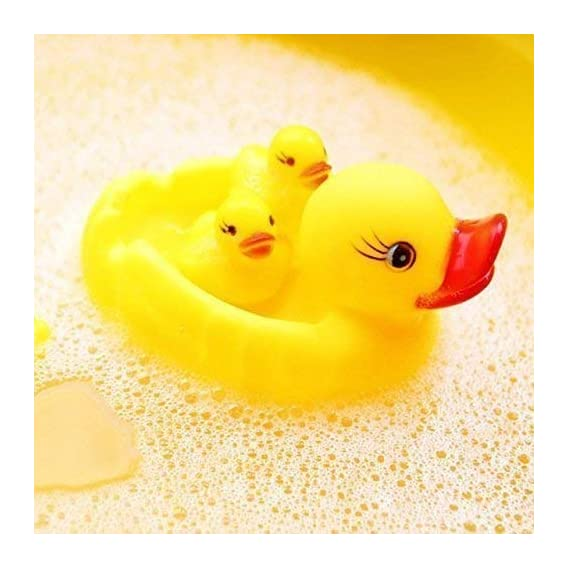 The Stock Store - Baby Bathing Rubber Squeaky Ducks Floating Play Water Pool TubToys (Yellow) - 4 Pcs