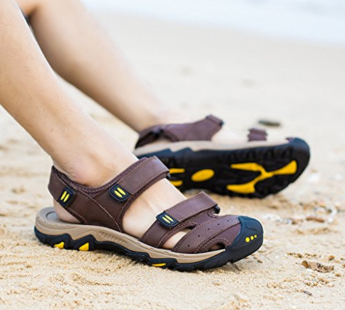 SOGXBUO XW Costume Mens Leather Sandals Athletic Outdoor Shoes Summer Beach Mules Velcro Sports Sandals Cqn6Hc