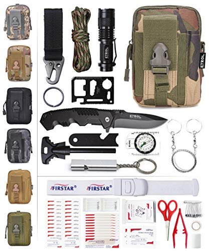 ETROL Emergency Survival Kit, First Aid Kit, Upgraded Tactical Molle Pouch, 90-in-1 Outdoor Camping Gear for Car, Fishing, Boat, Hunting, Hiking, Home, Earthquake, Office (Camouflage-4)