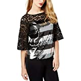 Sachin + Babi Womens Lace Sequined Blouse Black S