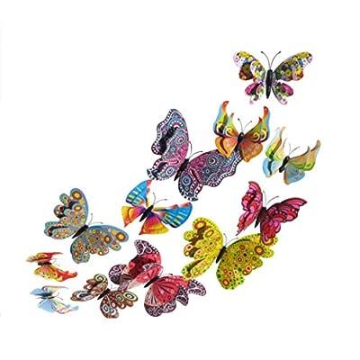 3D Butterfly Wall Sticker, Hatop 12x 3D Butterfly Wall Sticker Fridge Magnet Room Decor Decal Applique