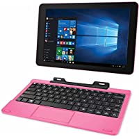 RCA Cambio 10.1 2-in-1 Tablet 32GB Intel Quad Core Windows 10 Pink Touchscreen Laptop Computer with Bluetooth and WIFI