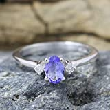 Tanzanite, Diamond 925 Sterling Silver Engagement Ring, Gift for Her