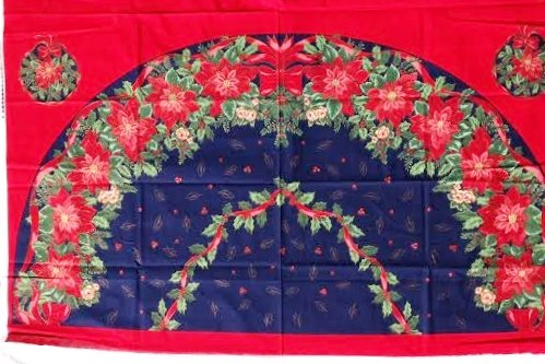 (Poinsettia's on Navy Blue Christmas Tree Skirt 2 Fabric Panels (Great for Sewing a 56