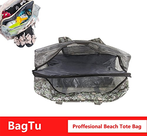 BagTu Beach Tote Bags - Waterproof with Dry Wet Area Shoes Compartment, Beach Swimming Surfing Bag, Workout Gym Bag, Brown, Capacity 14.2 by 11.4 by 7.1 inch by BagTu (Image #5)
