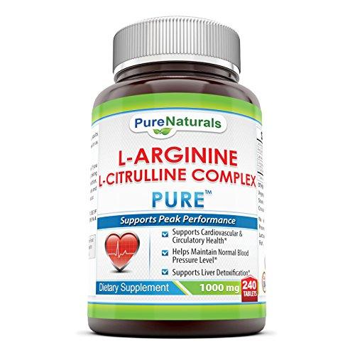 Naturals pure L-arginine L-citrulline complexe 1000 Mg 240 comprimés - prend en charge la détoxication du foie