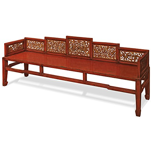 ChinaFurnitureOnline Elmwood Daybed, Qing Bed with Hand Carved Accents Red and Gold