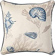 Madison Park MP30-1926 Bayside Cotton Printed Square Pillow Pair with Solid Reverse, Blue, 20X20 (2)