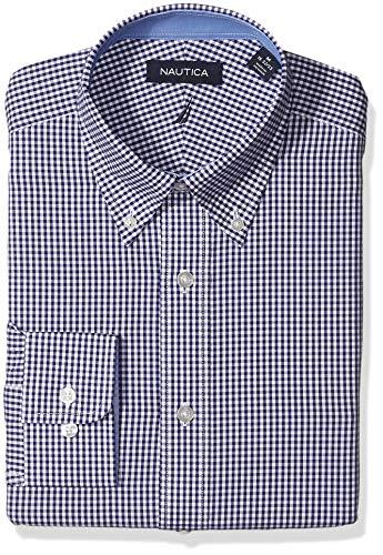 Nautica Men's Classic Fit Button Down Collar Dress Shirt, Navy Gingham, 17 34/35 (Dress Gingham Navy)