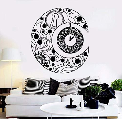 Dalxsh Newest Design Vinyl Wall Decal Crescent Moon Symbol Clock Dream Bedroom Interior Wall Decorative Sticker Living Room Mural 53X60Cm