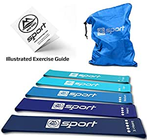 Resistance Band Resistance Bands Set of 5 Resistance Loop Bands for Legs and Butt Resistance Booty Bands for Women Exercise Bands for Fitness Elastic Gym Bands Carry Bag and Exercise Guide (Blue)