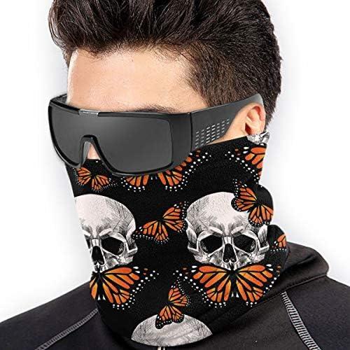 Skull And Orange Butterfly ネックカバー 日焼け防止 バンダナ クールなア フェイスガード 多機能 日よけ サイクリングカバー
