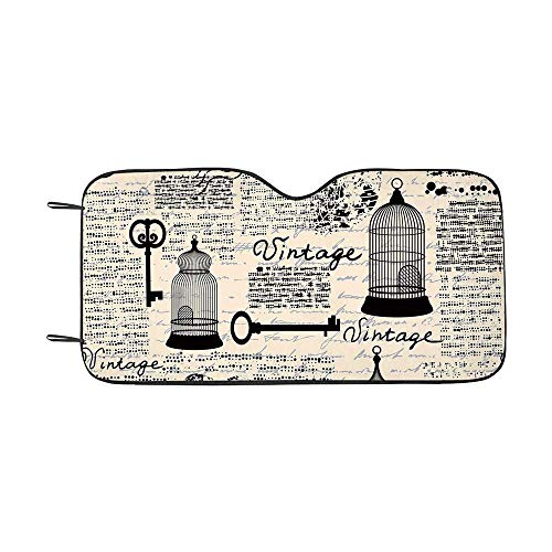 Old Newspaper Decor Durable Car Sunshade,Grunge Pattern with Bird Cages Keys Heart Shapes and Flower Decorative for car,55