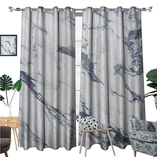 (Marble Waterproof Window Curtain Antique Marble Textured Ocean Style Organic Granite Rock Formation Art Print Blackout Draperies for Bedroom W108 x L84 Cadet Blue White)