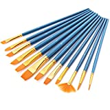 Paint Brush Set, GoFriend 12 Pieces Round Pointed Tip Nylon Hair Artist Acrylic Brushes Fine Paint Brush for Watercolor, Acrylics, Oil Painting Supplies