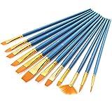 Paint Brush Set, GoFriend 12 Pieces Round Pointed Tip Nylon Hair Artist ...