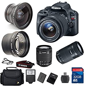 Canon SL1 DSLR Camera + 18-55mm IS STM Lens + 55-250 IS STM Telephoto Lens + Wide Angle Lens +Telephoto Lens + 32GB Memory + Flash - International Version