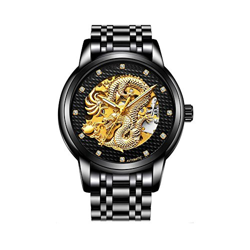 - Weicam Men Luxury Gold Dragon Carved Dial Automatic Mechanical Watch Leisure Waterproof Sport Wristwatch (Black)