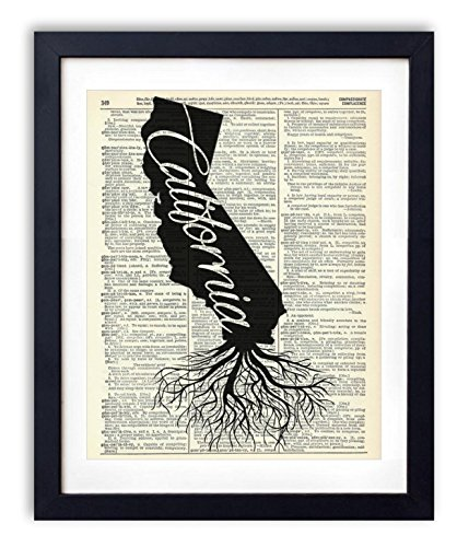 Art California Print (California Home Grown Upcycled Vintage Dictionary Art Print 8x10)