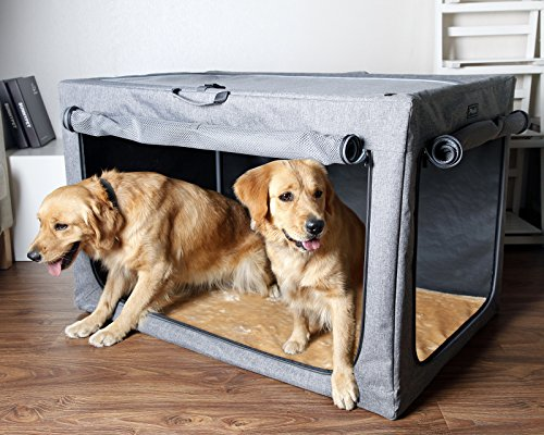 Petsfit 106.7 X 71 X 68.6cm Travel Pet Home Indoor/Outdoor For Medium To Large Dog Steel Frame Home,Collapsible Soft Dog Crate(Gray)