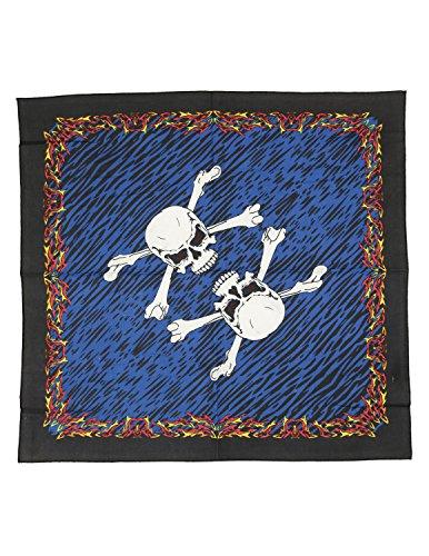 Sunshine Joy 3D Fire Bones Pirate Skull Bandana 22x22 Inches ()