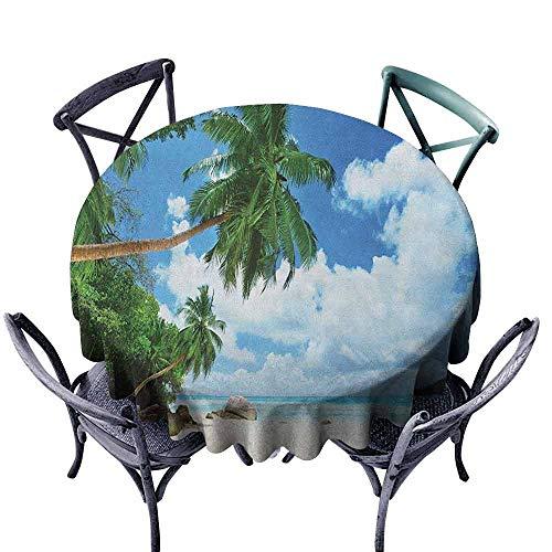 - ScottDecor Picnic Round Tablecloth Outdoor Picnics Beach,Paradise Shore On Mahe Island in The Seychelles Palm Trees Jungle Photo, Green Blue Sand Brown Diameter 54