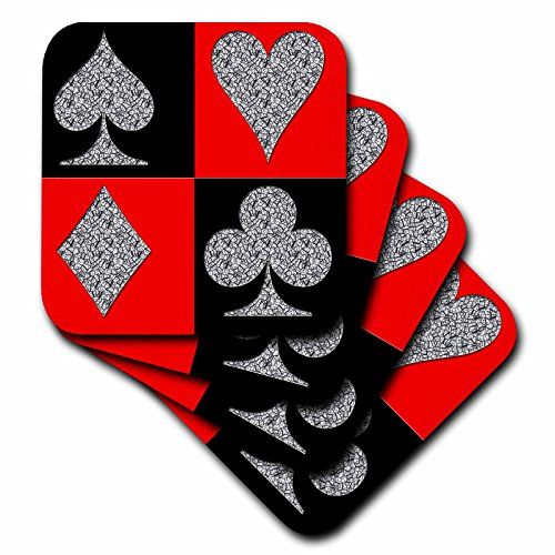 3dRose CST_218679_2 Poker Four of a Kind Aces Cool Design Popular Image Soft Coasters (Set of 8) ()